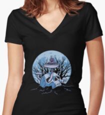 Skull Meditation Color Women's Fitted V-Neck T-Shirt