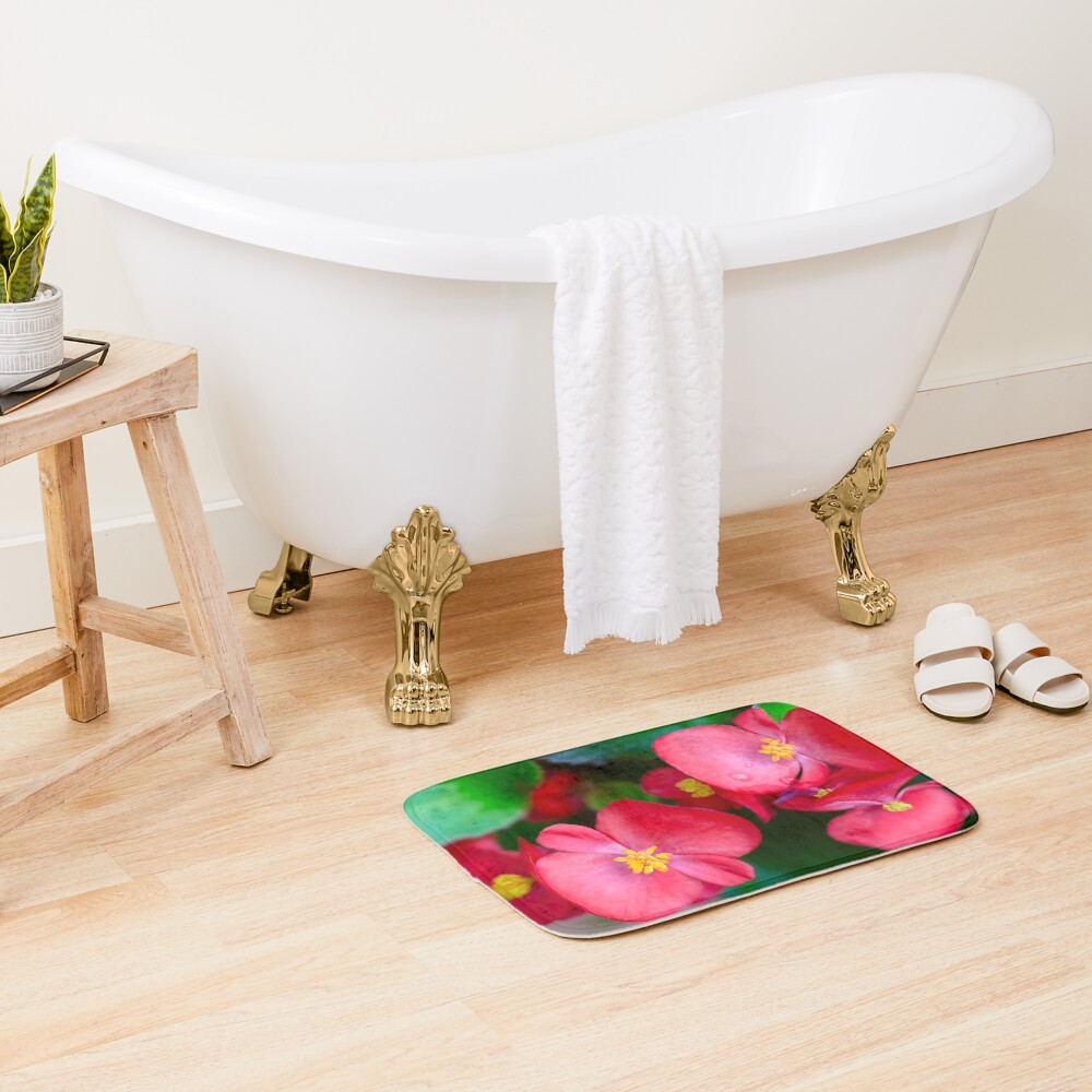 Pink Tropical Floral Bath Mat