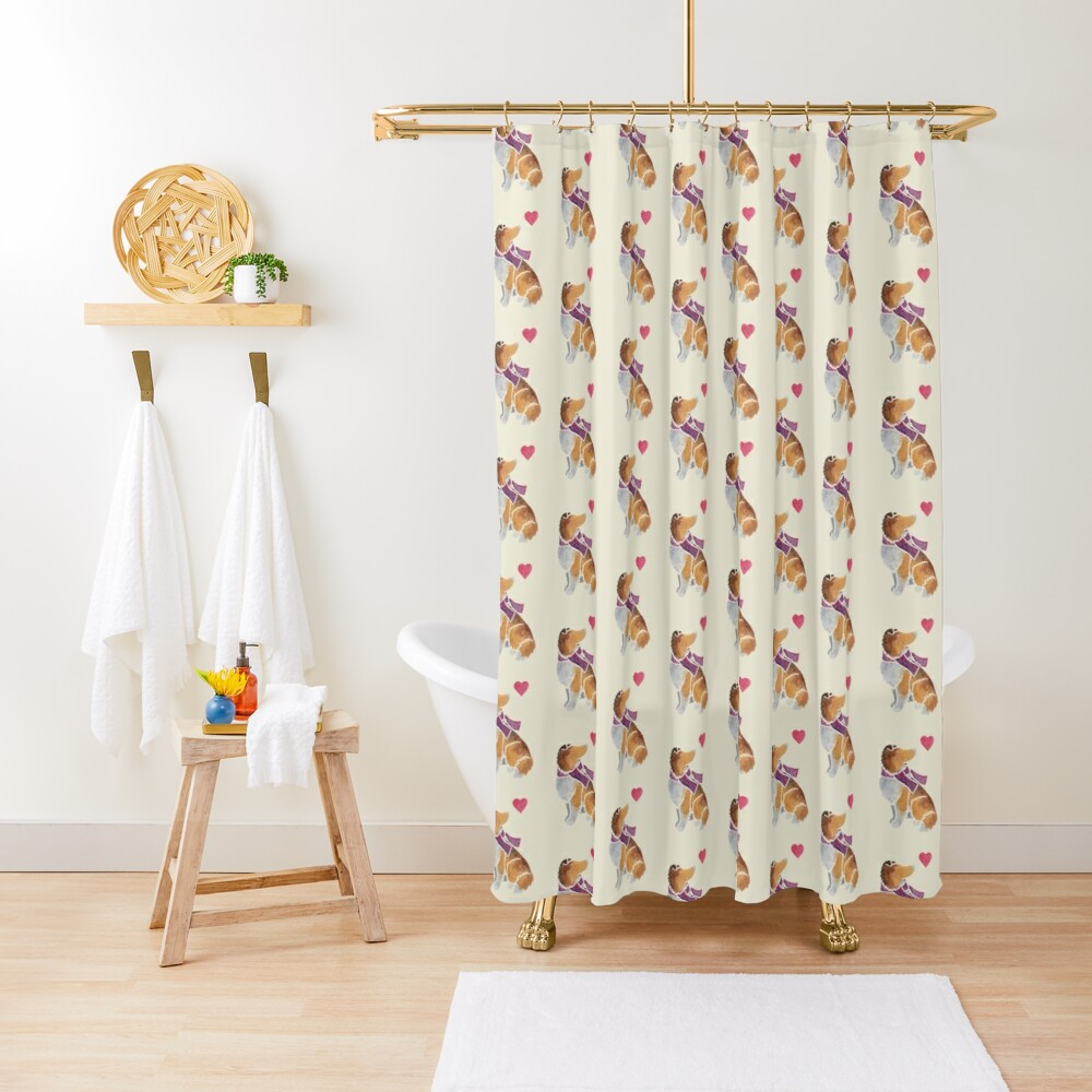 Watercolour Rough Collie Shower Curtain