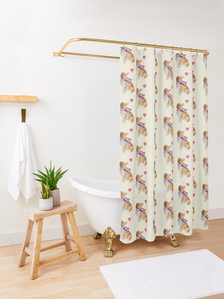 Alternate view of Watercolour Rough Collie Shower Curtain