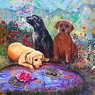 PUPPIES AND POND by Judy Mastrangelo