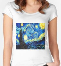 Starry Night - Vincent Van Gogh Women's Fitted Scoop T-Shirt