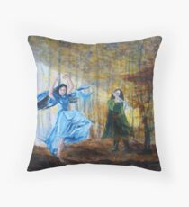 Luthien dances in the autumn woods Throw Pillow