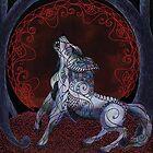 «Luna de sangre llena tribal de lobo blanco» de tinaschofield