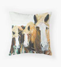 Curiosity - Belgian Draft Horses Throw Pillow