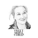 Sweet Meryl Streep, Popart schwarz und weiß - digital handgefertigt von Iona Art Digital von IonaArtDigital