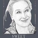 Sweet Meryl Streep gerahmt, Popart schwarz und weiß - digital handgefertigt von Iona Art Digital von IonaArtDigital