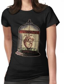 Caged Heart Womens Fitted T-Shirt