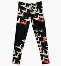 Flying cranes, Japanese kimono motif Leggings