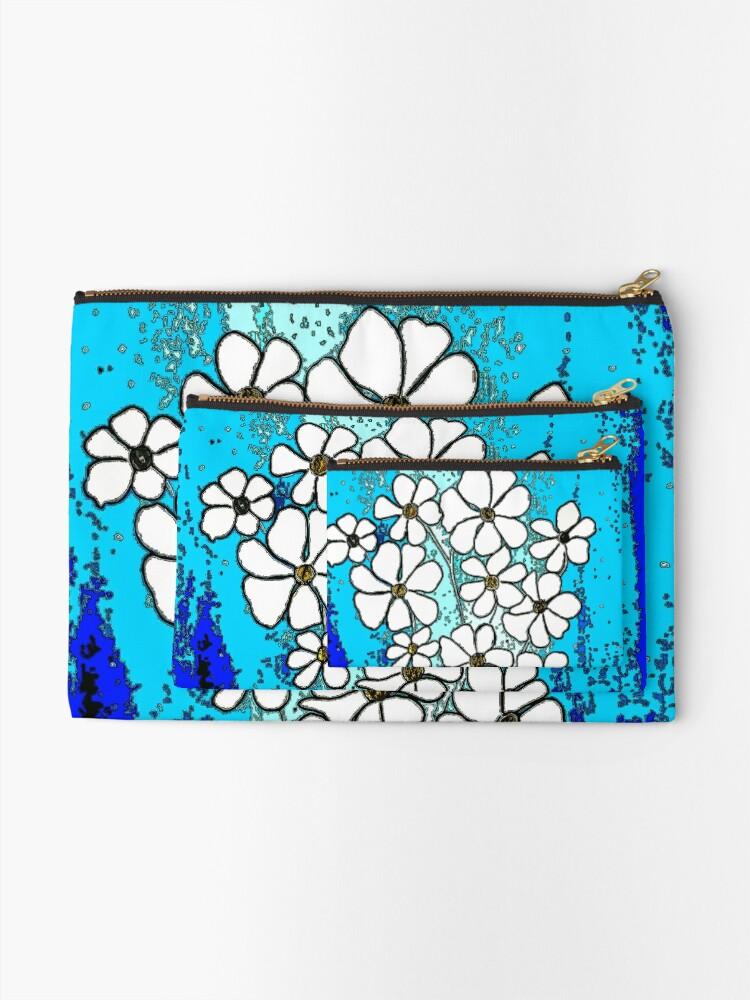 Alternate view of Flowers in Blue Zipper Pouch