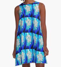 Flowers in Blue A-Line Dress