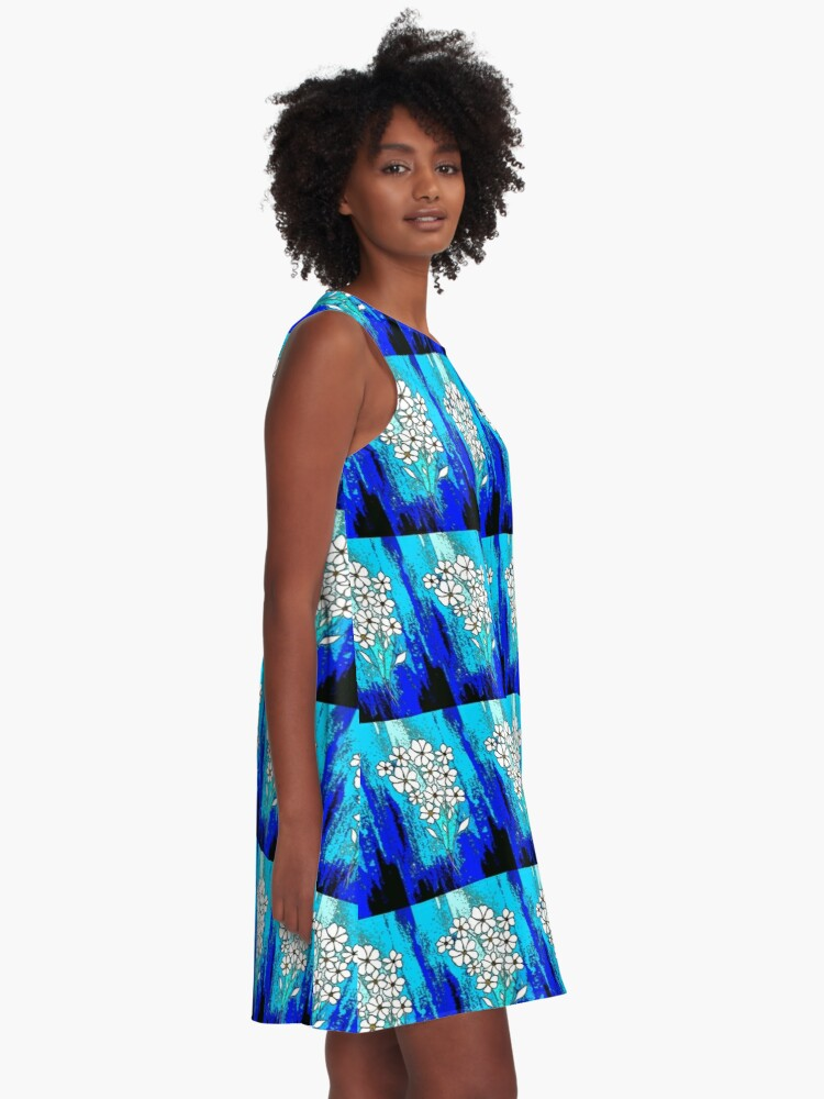 Alternate view of Flowers in Blue A-Line Dress