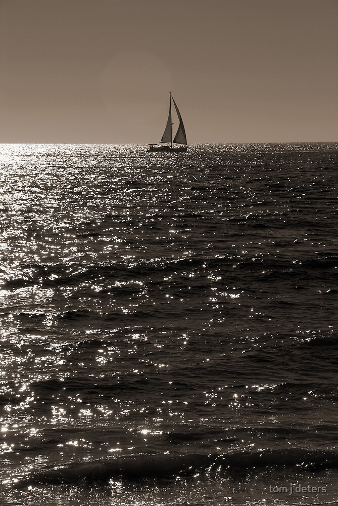Waves & Sailboat One by Tom Deters