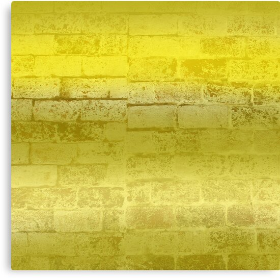 Trendy Aged Yellow Distressed Brick Canvas Print