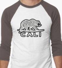 Cali Bear White with Black Men's Baseball ¾ T-Shirt