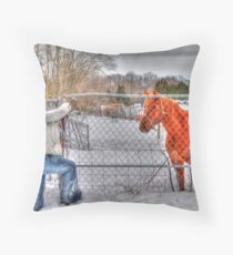 Lina and the Horse HDR Throw Pillow