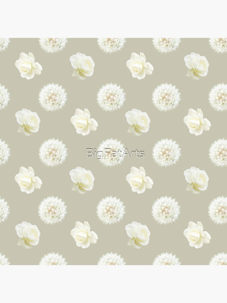 Polka Dandelions and Roses (Cream) by BigFatArts