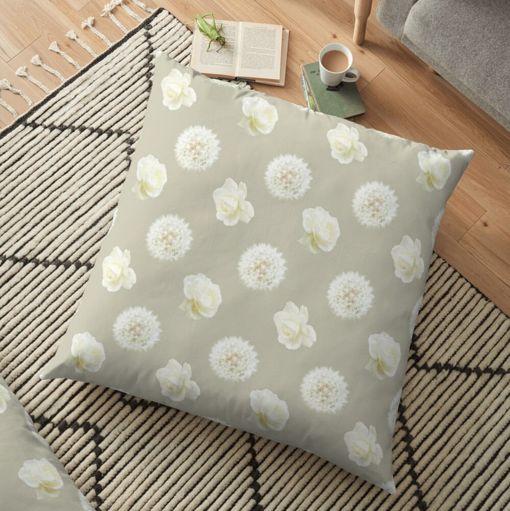 Polka Dandelions and Roses (Cream) Floor Pillow