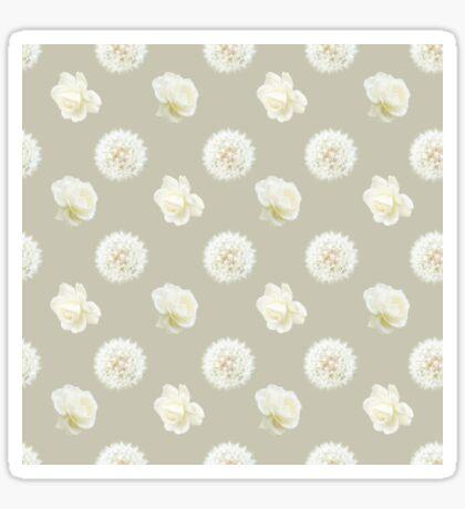Polka Dandelions and Roses (Cream) Glossy Sticker
