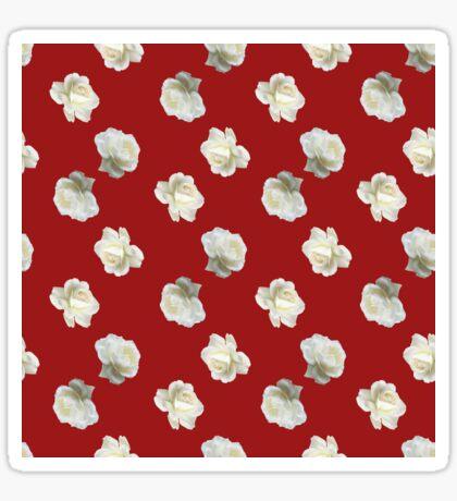 Polka White Roses (on Red) Glossy Sticker