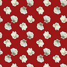 Polka White Roses (on Red) by BigFatArts