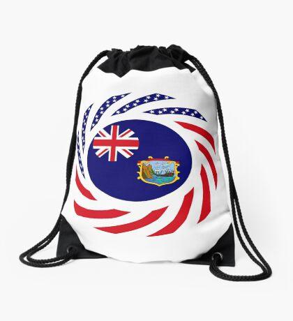 Saint Helena American Multinational Patriot Flag Series Drawstring Bag