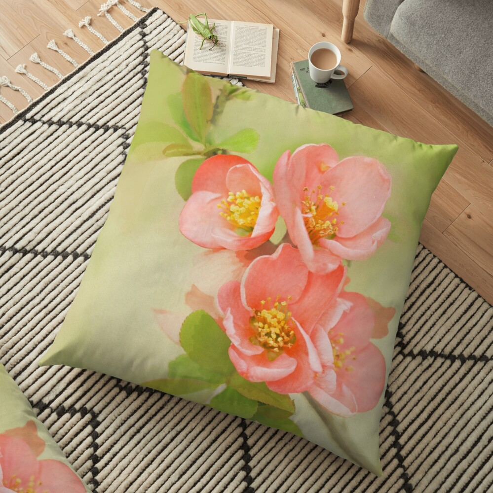 Coral & Green Watercolor Floral Floor Pillow