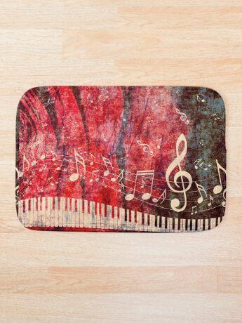 Klaviertastatur mit Musik merkt Grunge 2 Badematte