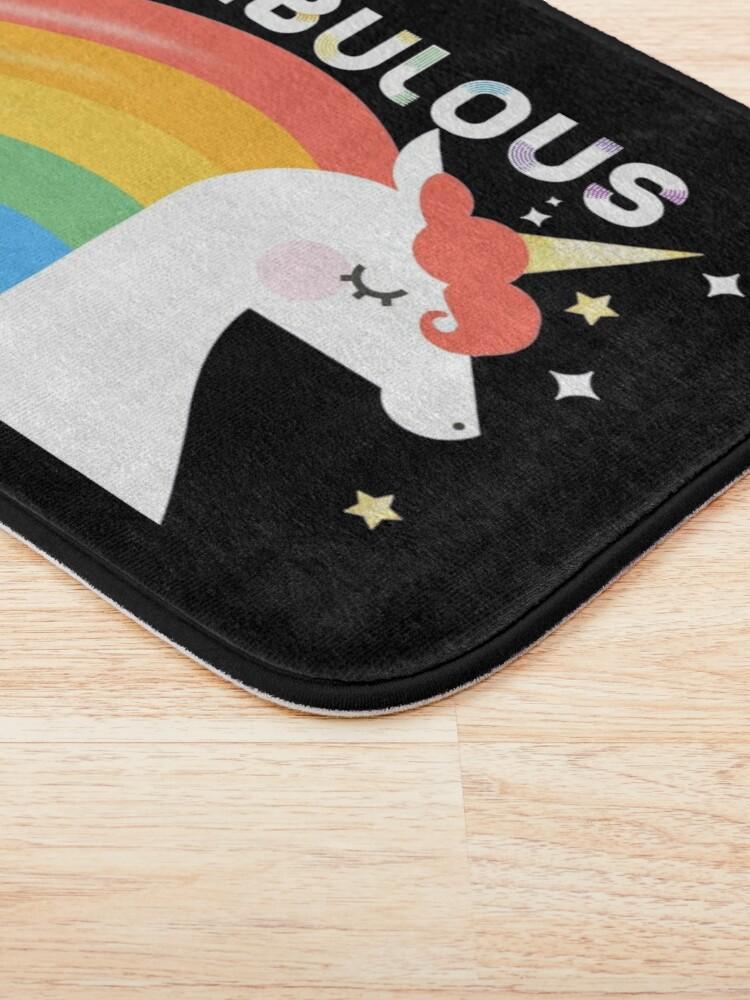 Alternate view of Fabulous Sparkling Rainbow Unicorn Bath Mat