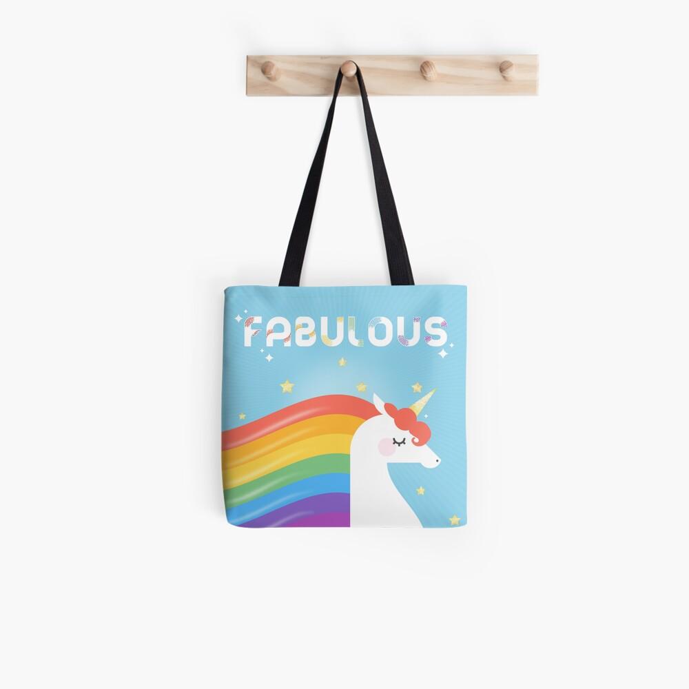 Fabelhaftes funkelndes Regenbogen-Einhorn Tote Bag