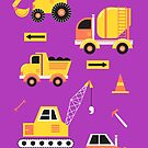 Construction Trucks on Bright Purple by latheandquill