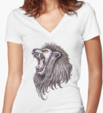 Lion roar big mouth Women's Fitted V-Neck T-Shirt