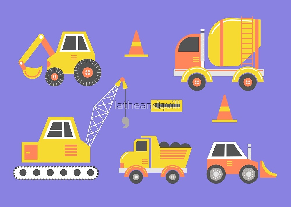 Construction Trucks on Amethyst Purple by latheandquill