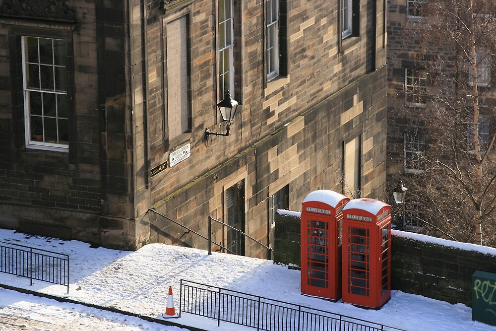 Edinburgh Phone Boxes from The Castle by Sarah  Edmondson