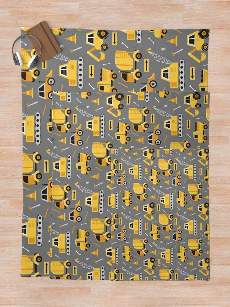 Alternate view of Construction Trucks on Gray Throw Blanket