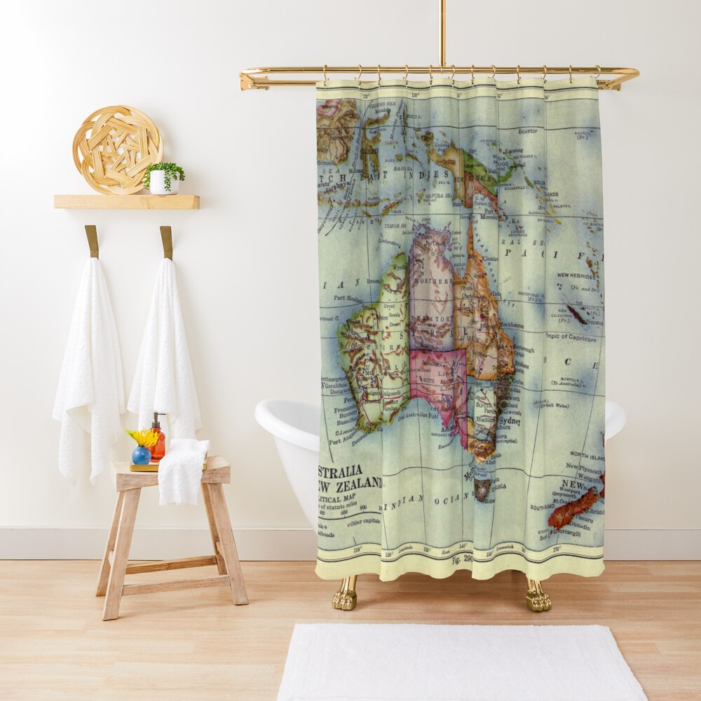 Vintage Map of Australia (1921) Shower Curtain