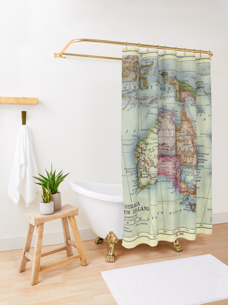 Alternate view of Vintage Map of Australia (1921) Shower Curtain