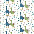 Colorful illustration of textured gooses in a floral garden by DenesAnnaDesign