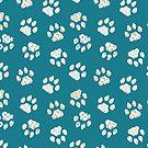 Navy geometric textured pattern of dog cat paws by DenesAnnaDesign
