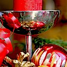 Red candle and Christmas ornaments  A by pogomcl