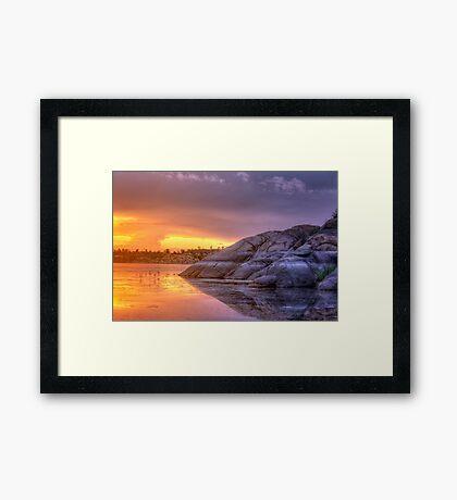 Sunset vs Rock Framed Print