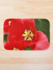 Red Tulip Blossom Bath Mat