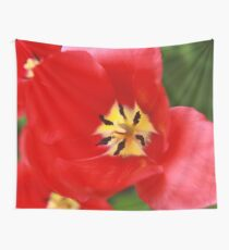 Red Tulip Blossom Wall Tapestry
