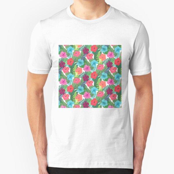Tropical Flowers Slim Fit T-Shirt