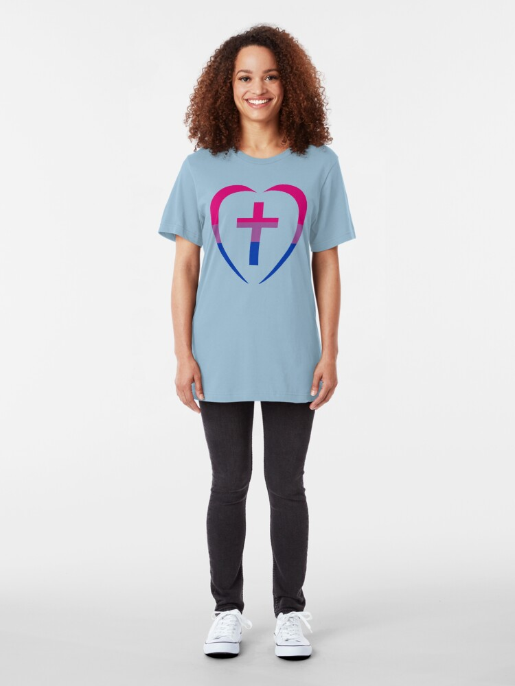 Alternate view of Christian Heart (Pink, Purple, Blue) Third Culture Series Slim Fit T-Shirt