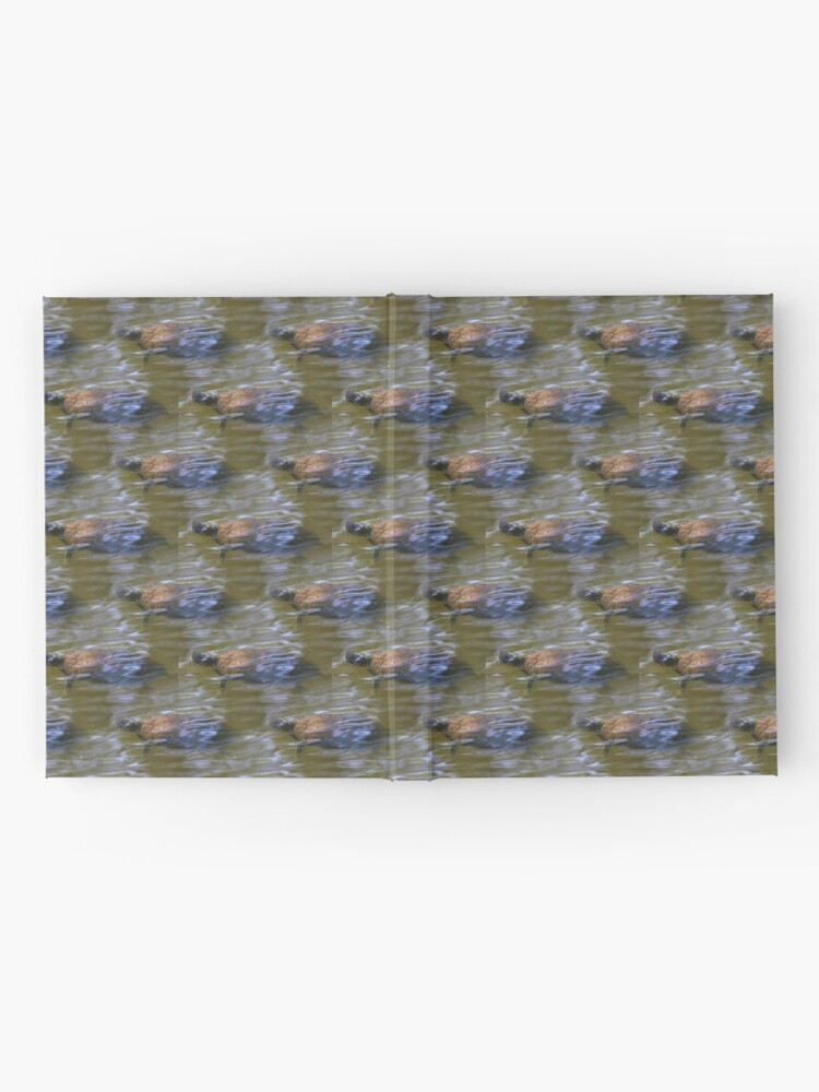 Alternate view of turtle swimming at Trojan pond, near Goble, Oregon 2 pattern Hardcover Journal