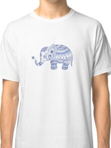 Cute Navy Blue Retro Floral Elephant Classic T-Shirt