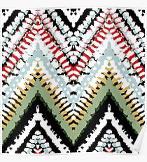 Bohemian print with chevron pattern in soft colors Poster