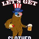 Let's Get Slothed US Flag July 4th Party Sloth von Basti09