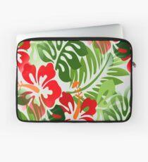 Hawaiisches geblühtes Hemd-Muster-rotes Grün Laptoptasche